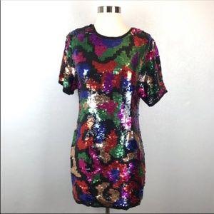 Vintage Multicolor Sequin Silk Dress 9/10